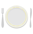 plates with a gold rim with a fork and knife vector image