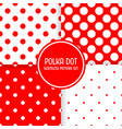 polka dot seamless pattern background set red and vector image vector image