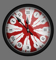 red realistic modern clock isolated vector image vector image