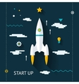 Retro Flat Design Space Launch Start Up Concept vector image vector image