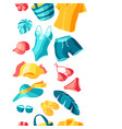 seamless pattern with beachwear and swimwear vector image vector image