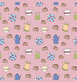 seamless pattern with colorful teapots and cakes vector image vector image