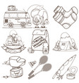 set in the tourism theme travel logos coloring vector image vector image