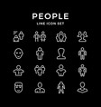 Set line icons people