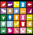 Set silhouettes of animals Flat icon vector image vector image