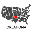 state of oklahoma on map of usa vector image