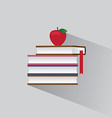 symbol stack books and red apple vector image vector image
