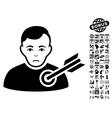 Target Man Flat Icon With Bonus vector image