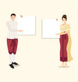 thai traditional couple in red dress holding vector image vector image