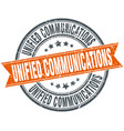 unified communications round grunge ribbon stamp vector image vector image