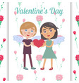 valentine s day card with pretty couple in love vector image vector image
