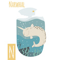 vertical of narwhal with colorful underwater vector image