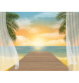 view sea beach on sunset vector image vector image