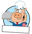 Waiter Pig Serving Food On A Platter vector image vector image