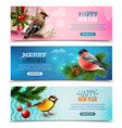 winter birds horizontal banners vector image vector image