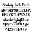 hand drawn letters alphabet numerals on vector image