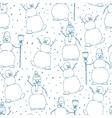 Hand drawn happy snowmans seamles cartoon vector image