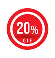 20 percent off - red sale stamp - special offer vector image vector image