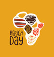 africa day card with tribal art african map vector image vector image