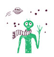 alien friend green people and stars isolated vector image