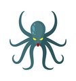 Angry Octopus Horrible sea monster with tentacles vector image