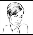 beautiful brunette girl portrait bun hairstyle vector image