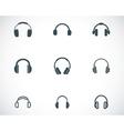 black headphone icons set vector image vector image