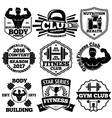 Bodybuilding set of badges labels with vector image