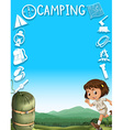 Border design with girl and camping tools vector image vector image