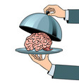 brain on dish with cloche pop art