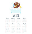 brown bear grizzly calendar vector image