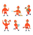 cartoon characters of firefighters in action poses vector image vector image