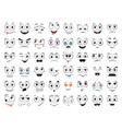 cartoon faces set angry laughing smiling cryin vector image vector image
