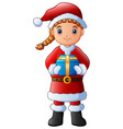 cartoon girl in a santa claus costume holding gift vector image