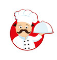 cook with dish in hand vector image vector image
