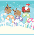 cute santa claus and reindeer cartoon characters vector image