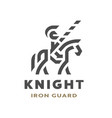 equestrian knight linear logo symbol vector image