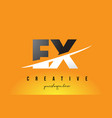 ex e x letter modern logo design with yellow vector image vector image