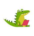 funny cartoon crocodile character sitting using vector image