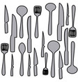 grayscale set pattern of kitchen utensils vector image