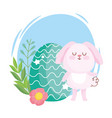 happy easter cute bunny with green egg flowers vector image