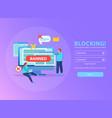 internet blocking isometric background vector image vector image