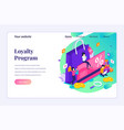 isometric landing page design concept loyalty vector image vector image