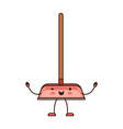 kawaii cartoon dustpan with wooden stick in vector image vector image