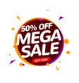 mega sale 50 percent speech bubble banner sign vector image vector image