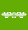 monorail train icon green vector image vector image