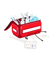 Open First Aid Box with Medical Supplies vector image
