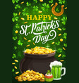patricks day shamrock clover golden coins and ale vector image vector image
