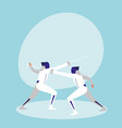 persons practicing fencing avatar character vector image