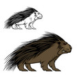porcupine or hedgehog mascot animal vector image vector image